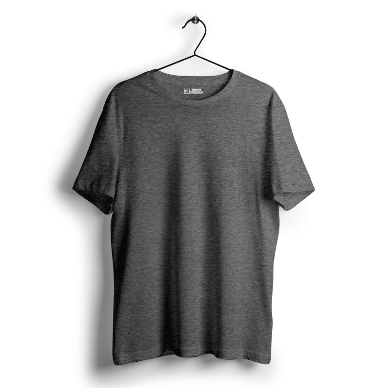 Charcoal melange plain tshirt image
